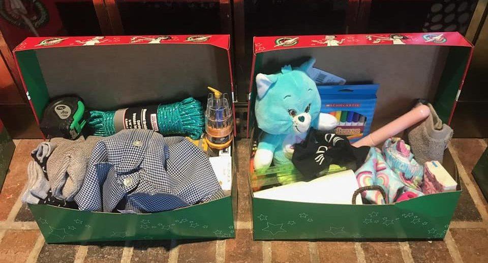 packing operation christmas child shoebox